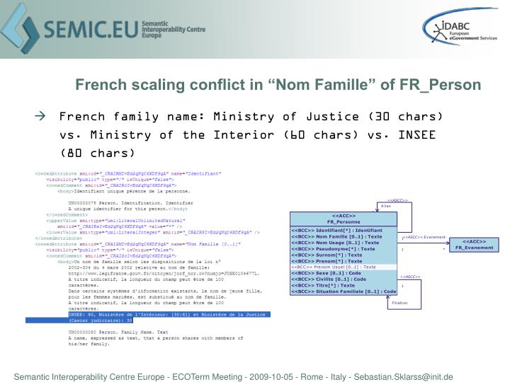 """French scaling conflict in """"Nom Famille"""" of FR_Person"""