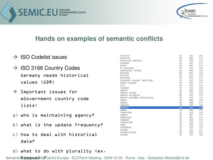 Hands on examples of semantic conflicts