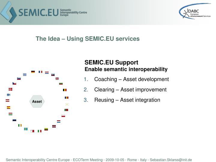 The Idea – Using SEMIC.EU services