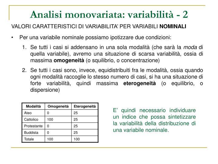 Analisi monovariata: variabilità - 2