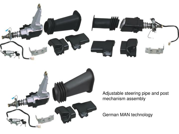 Adjustable steering pipe and post mechanism assembly
