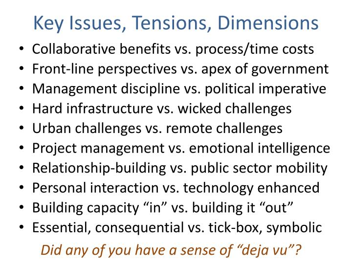 Key Issues, Tensions, Dimensions