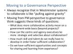 moving to a governance perspective