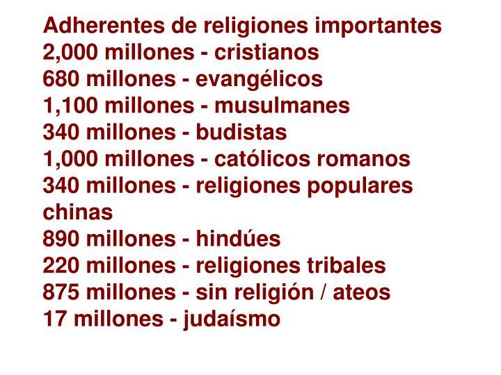 Adherentes de religiones importantes