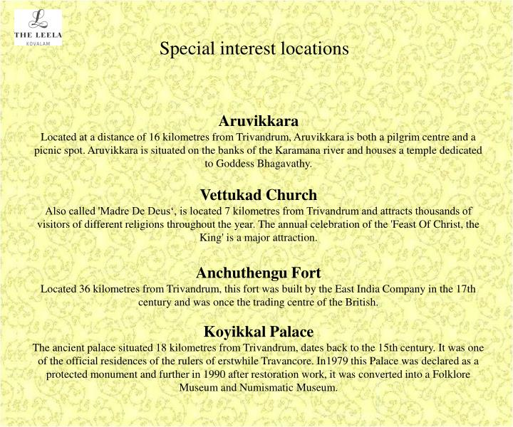 Special interest locations