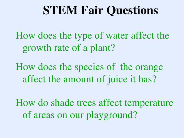 STEM Fair Questions