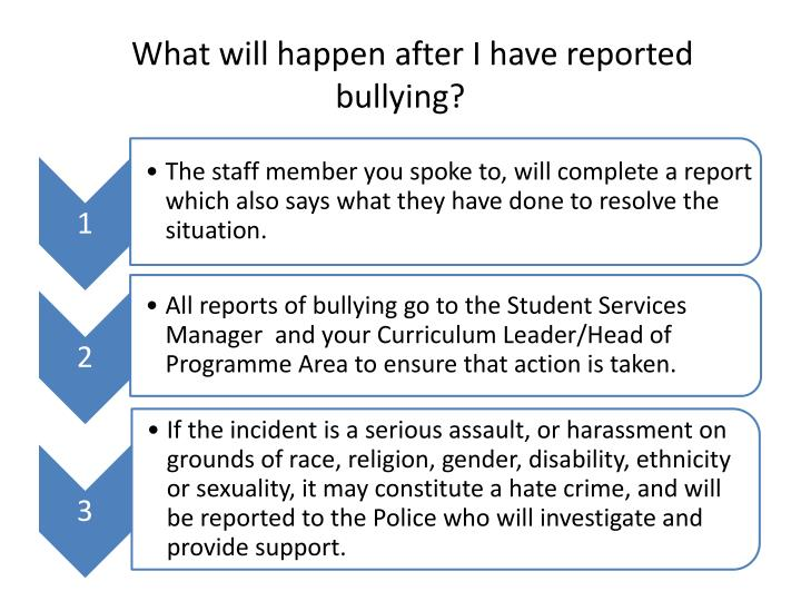 What will happen after I have reported bullying?