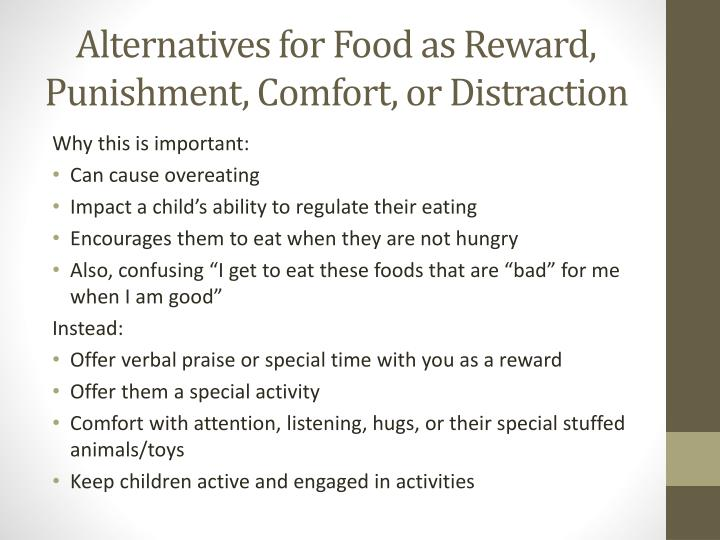 Alternatives for Food as Reward, Punishment, Comfort, or Distraction