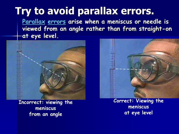 Try to avoid parallax errors.