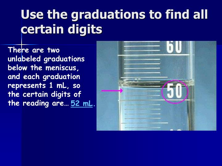 Use the graduations to find all certain digits