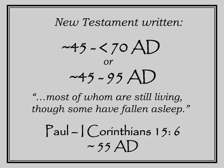 New Testament written: