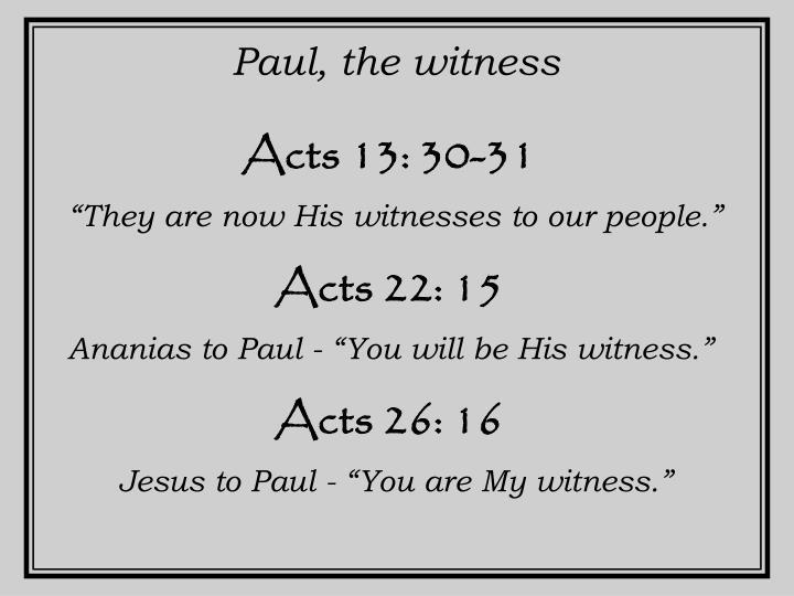 Paul, the witness