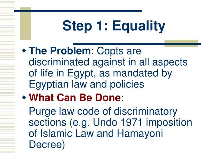 Step 1: Equality
