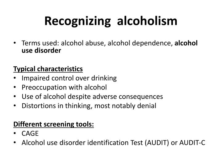 Recognizing  alcoholism