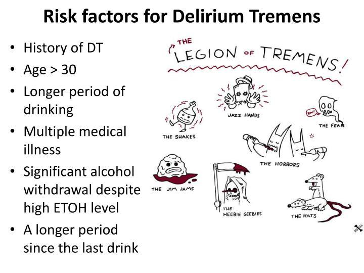 Risk factors for Delirium Tremens