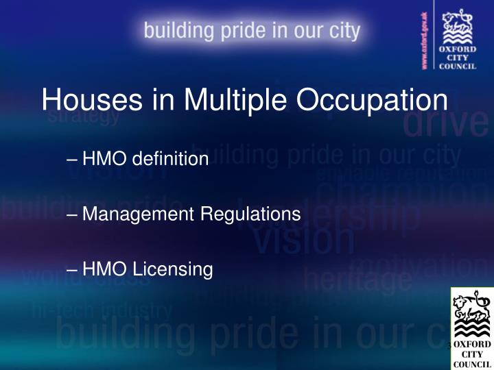 Houses in multiple occupation