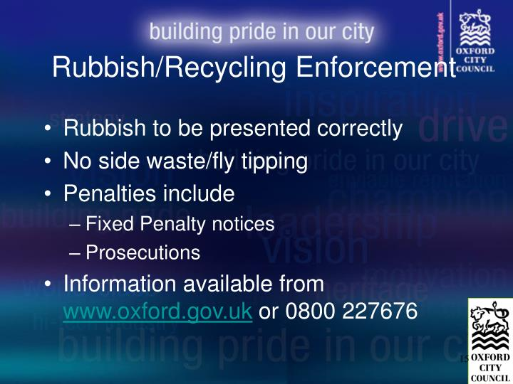Rubbish/Recycling Enforcement