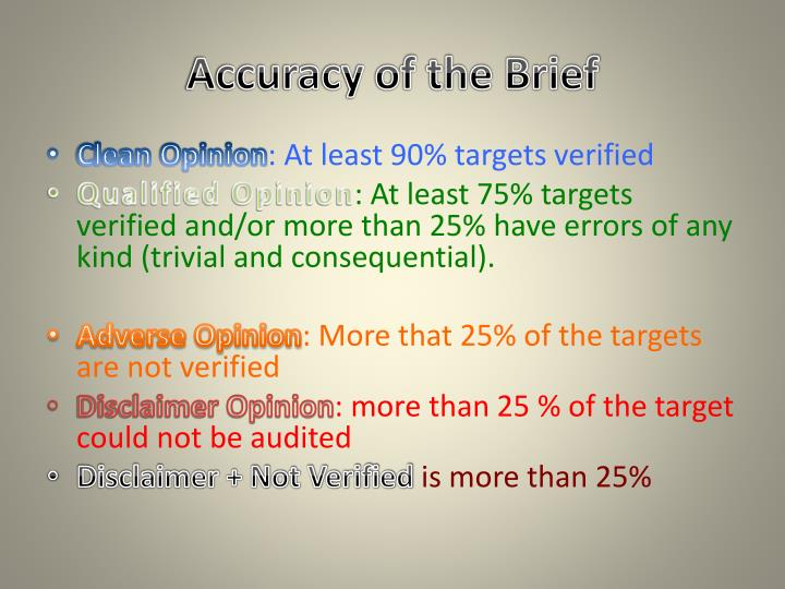 Accuracy of the Brief