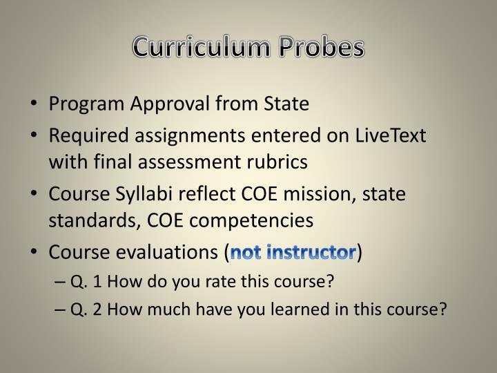 Curriculum Probes