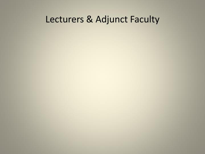 Lecturers & Adjunct Faculty