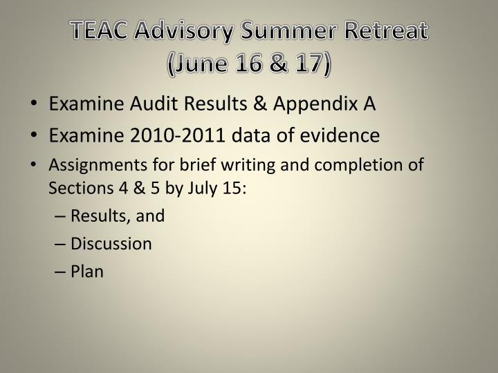 TEAC Advisory Summer Retreat