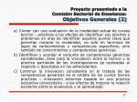 proyecto presentado a la comisi n sectorial de ense anza objetivos generales 2