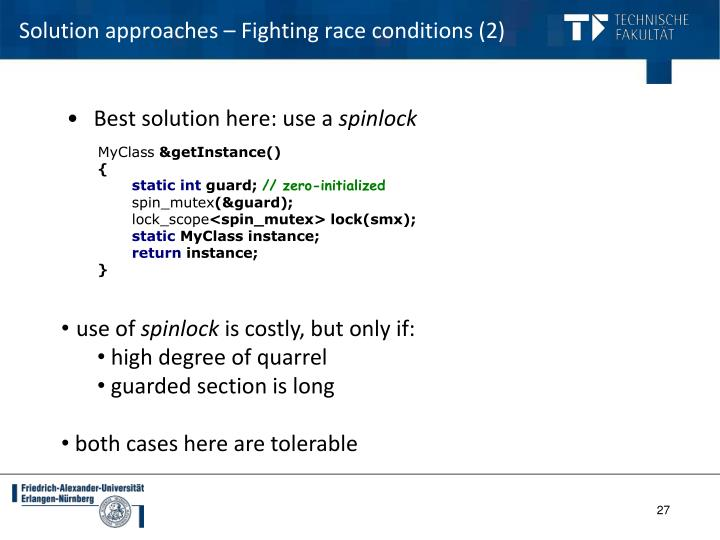 Solution approaches – Fighting race conditions (2)