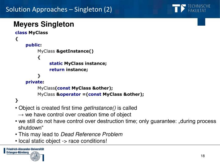 Solution Approaches – Singleton (2)