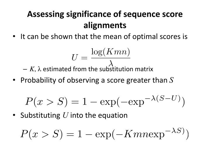 Assessing significance of sequence score alignments