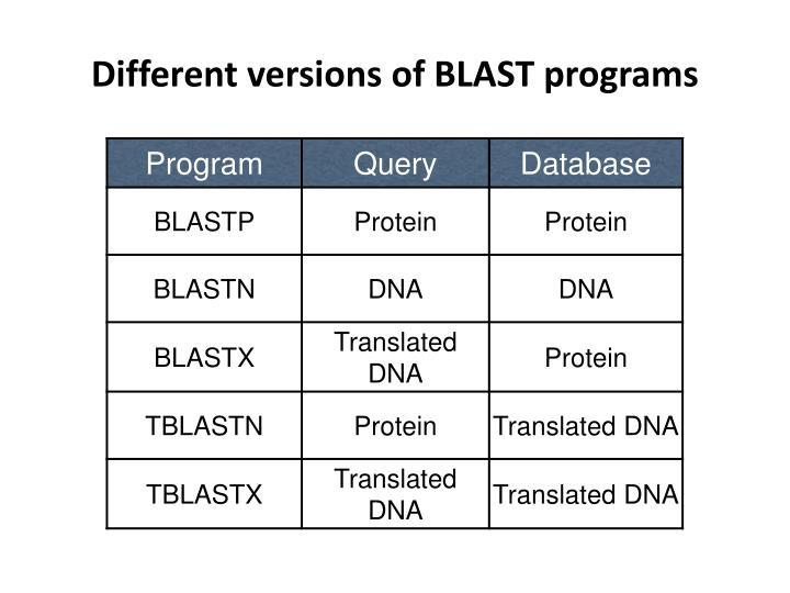 Different versions of BLAST programs