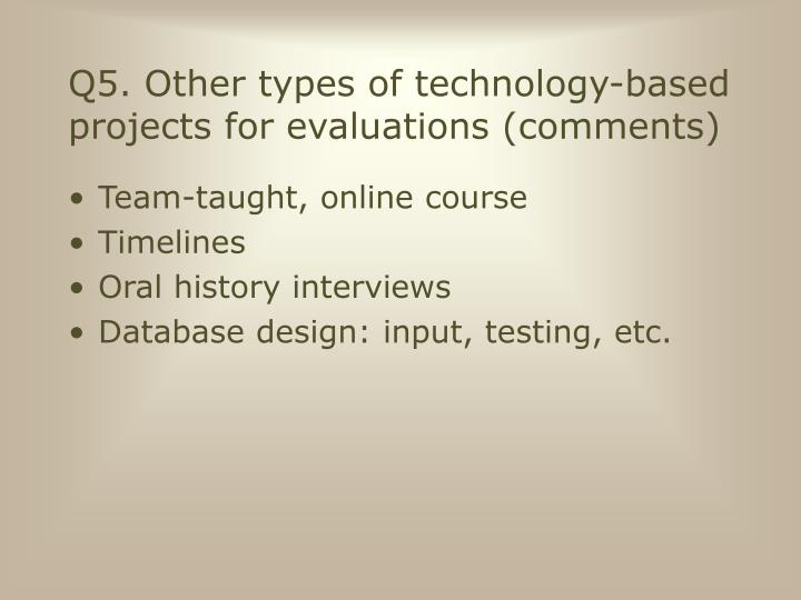 Q5. Other types of technology-based projects for evaluations (comments)