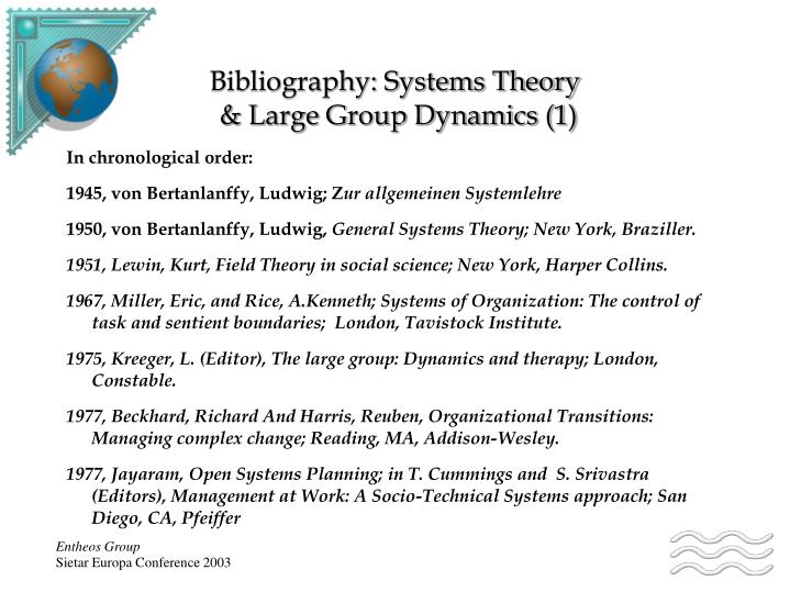 Bibliography systems theory large group dynamics 1