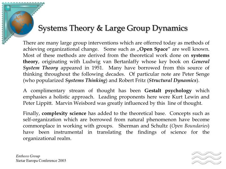 Systems theory large group dynamics
