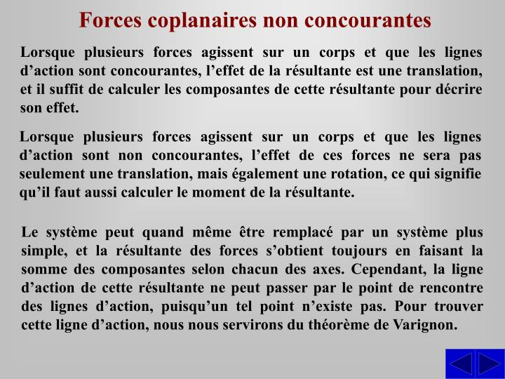 Forces coplanaires non concourantes