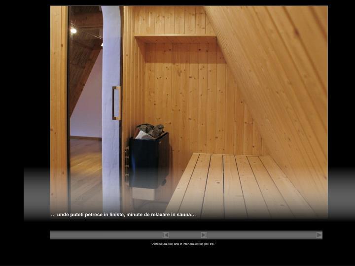 … unde puteti petrece in liniste, minute de relaxare in sauna…