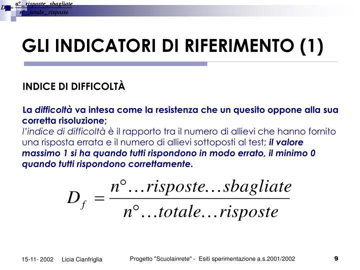 GLI INDICATORI DI RIFERIMENTO (1)