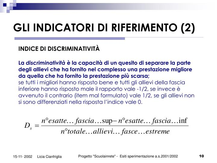 GLI INDICATORI DI RIFERIMENTO (2)