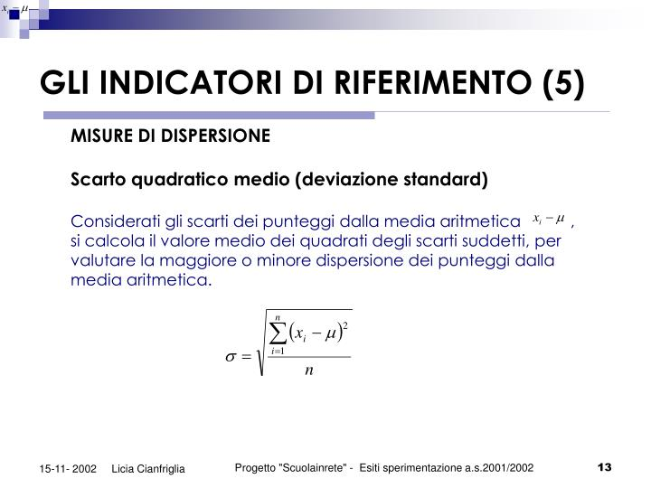 GLI INDICATORI DI RIFERIMENTO (5)