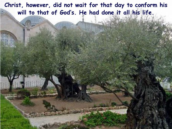 Christ, however, did not wait for that day to conform his will to that of God's. He had done it all his life.