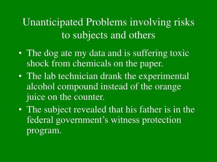 Unanticipated Problems involving risks to subjects and others