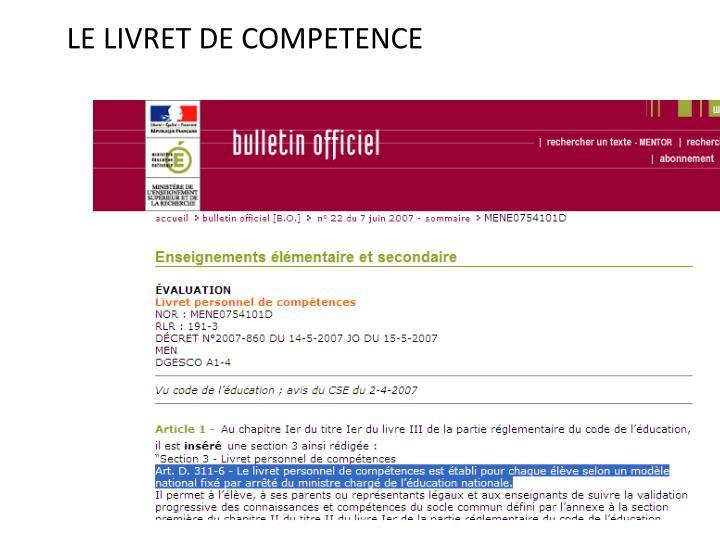 LE LIVRET DE COMPETENCE