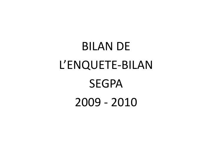 BILAN DE
