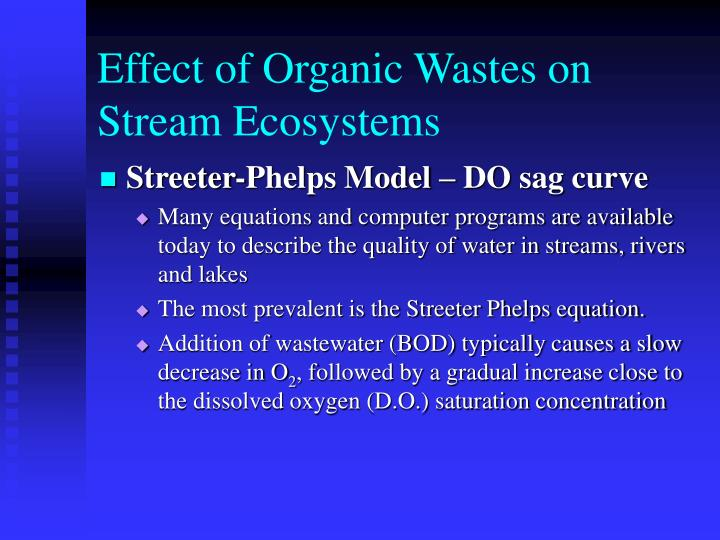 Effect of Organic Wastes on Stream Ecosystems