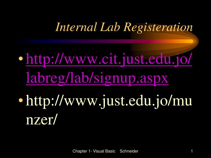 Internal Lab Registeration