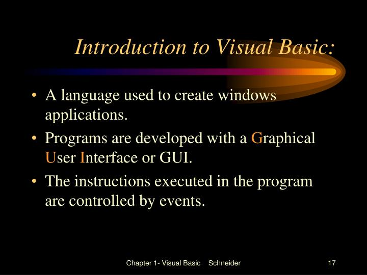Introduction to Visual Basic: