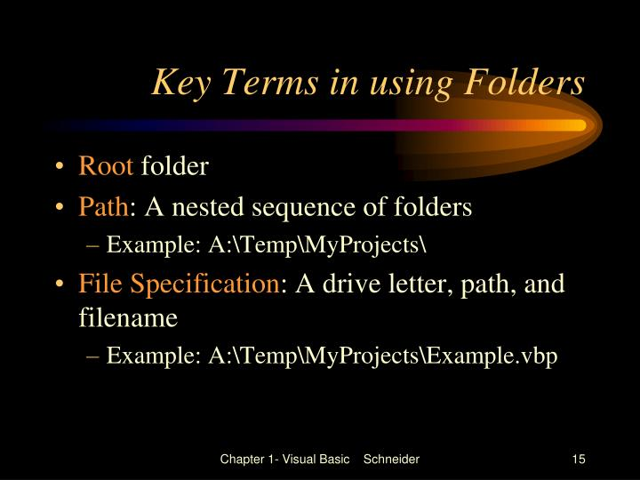 Key Terms in using Folders