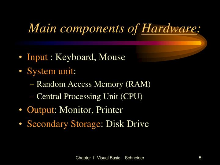 Main components of