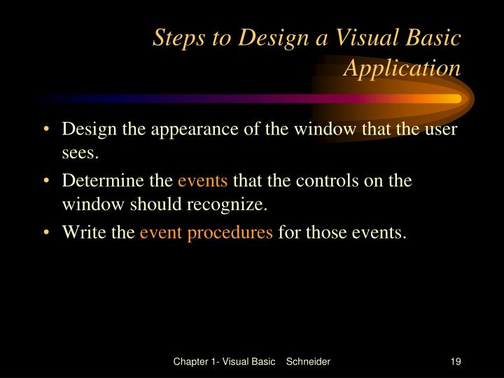 Steps to Design a Visual Basic Application