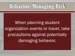 behavior managing risk
