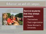 behavior on and off campus1